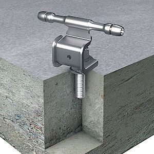 Seilführung 0° auf Beton mit Klebeanker