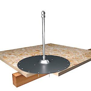 Systemstütze 16mm auf Grundplatte Holz - OSB Platten