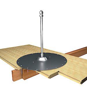 Systemstütze 16mm auf Grundplatte Holz - Holzschalungen