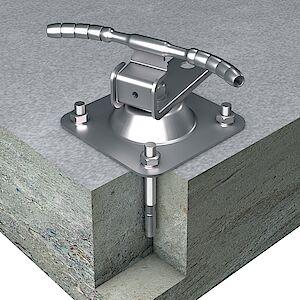 Seilführung 90° auf Grundplatte Beton