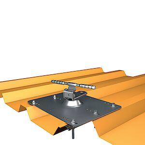 Seilführung 90° auf Grundplatte Trapezblech - Stahl