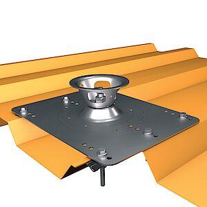 Systemstütze Quattro auf Grundplatte Trapezblech - Stahl