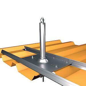 Anfang-, End- und Eckstütze 42mm auf Grundplate Trapezblech - Stahl