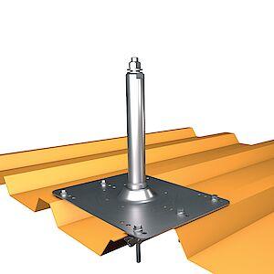 Systemstütze 42mm auf Grundplatte Trapezblech - Stahl