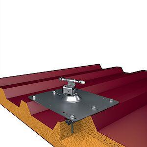 Seilführung auf Grundplatte Trapezblech - Sandwich Stahl