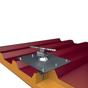 Seilführung 90° auf Grundplatte Trapezblech - Sandwich Stahl