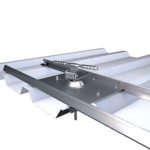 Systemstütze 3D Seilführung mit Platte auf Trapezblech ALU